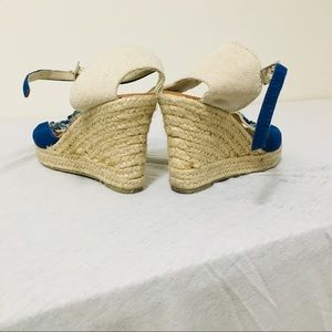 BAMBOO Shoes - Bamboo Blue&Beige Wedge Sandal